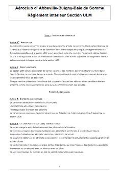 Reglement intérieur ULM